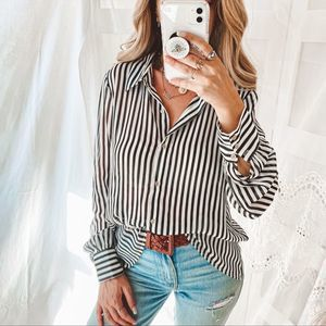 Black & White Stripped Sheer Button Down - Large
